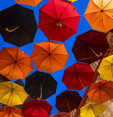 Floating (Kevin Tataryn) Tags: umbrella nikon d500 tokina 1116 wide angle color float whimsical quebeccity canada old historic