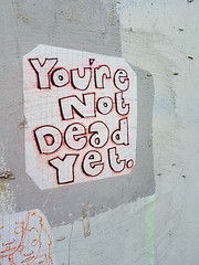 You're Not Dead Yet (Kombizz) Tags: 143118 kombizz 2017 september2017 170917 amazingsunday birthdaypresent brighton seasideresorttown brightonandhove eastsussex nopsbatchresizing travel mobilephonetaking mobilephonecapture yourenotdeadyet sticker paintedwall