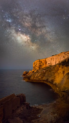 Milky Way - Ses Pedreres (Max W!nter) Tags: milkyway vialactea night nightsky stars photopills pedreres marès sandstone canteras quarries rocks sea shore milkywayshot nightphoto mallorca tones cliffs light longexposure pano panorama panoramic nikkor 58mm estrellas galacticcenter old historic moody excursion outdoors underthestars darkskies sky skies nocturnal milchstrasse sternenhimmel nachthimmel milkwaypano milchstrassenpanorama meer nacht