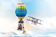The Race to Mount Everest (roΙΙi) Tags: orientexpedition johnnythunder hotairballoon balloon biplane collaboration adventurers expedition brickworld oriental