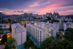 Commonwealth Close Flats (Scintt) Tags: singapore state structure building architecture skyline city cityscape hdb housing estate sun sky clouds dramatic surreal epic light glow travel urban exploration skyscrapers construction wideangle scintillation scintt jonchiangphotography apartments flats homes landscape clear real residential residences public stitched vantagepoint sunset dusk twilight evening commonwealth close shift trees longexposure slowshutter