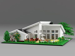 Family house (aukbricks) Tags: lego moc legomoc architecture legoarchitecture design minifigscale house familyhouse modern furnished functionalism tree flowers patiodeck deck pool swing bedroom kitchen livingroom bathroom laundry bed table chairs sofa fireplace desk tv breakfast white legodigitaldesigner ldd mecabricks blender render rendering computerrendering