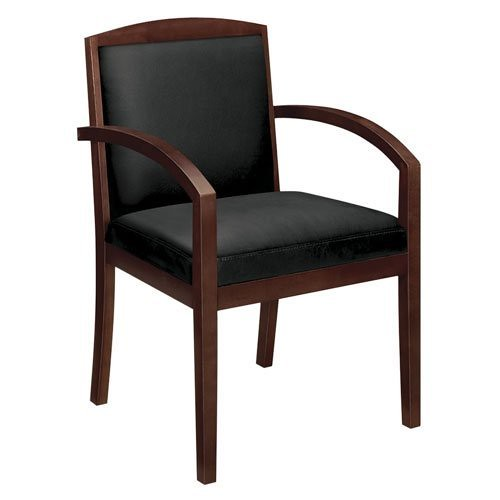 HON Topflight Wood Guest Chair – Leather Seated Guest Chair with Arms, Office Furniture, Bourbon Cherry Finish (VL852) For Sale