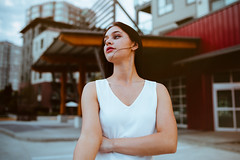 Lil' Darlin (MarvinHrrr) Tags: ifttt 500px sunset reflection building city country woman girl beautiful brunette wind hair pensive walking motion canada vancouver pentax sigma