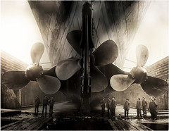 Eliche Nave Olympic, Titanic Museum - Belfast, Northern Ireland (Livio Saule) Tags: museum titanic nave elica eliche seppia monocromo monocromatico curiosità boat belfast irlanda