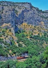 Tempi gorge (rolfstumpf) Tags: greece tempi tempe gorge valley mountains ose organismossidirodromonellados mlw mx627 a453 trains passengertrain tree forest landscape mamiya fujichrome