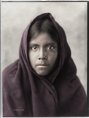 Stepping out of time Qahatika girl (rob.vndnB) Tags: library congress colorization colorized photo curtis edward photogragh photographs picture public old rvndnb archives border looking light nitrate negatives image print year 1907 united states qahatika girl wearing scarf head shoulders facing front