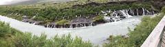 panoramica Islandia Cascada de Hraunfossar rio Hvita 02 (Rafael Gomez - http://micamara.es) Tags: islandia cascada de hraunfossar rio hvita cataratas panoramica cascadas y río hvitá iceland