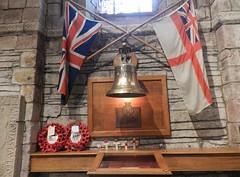 HMS Royal Oak Memorial, St Magnus Cathedral, Kirkwall, Orkney Isles, June 2018 (allanmaciver) Tags: hms royal oak bell flags st magnus cathedral church remember wreath world war 1939 october north scotland islands scapa flow bay 833 men u47 allanmaciver