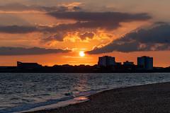Southsea Sunset (steveh011) Tags: ocean sea glow fire seascape landscape southsea stone hour golden sky shadow dusk sun beach sunset