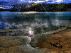 Illuminated chill II (elphweb) Tags: hdr highdynamicrange winter cold chilly nsw australia seaside lake waterway