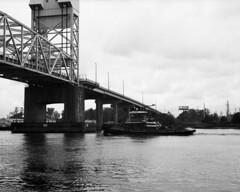 20180419MemorrialBr6 (Alan Cradick) Tags: alancradick bw bridge capefearriver film tugboat river outboard marinepatrol