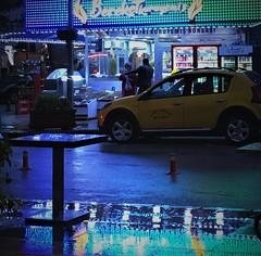 Street Photography (roomman) Tags: 2018 cankiri çankırı turkey street photography evening night city town centre people walk walking taxi rain rainy light lights mirror reflect reflection colour colours blue