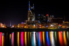 Downtown Nashville by Night (sniggie) Tags: cumberlandriver nashville tennessee downtown nightlights nightphotography city river skyscraper attbuilding