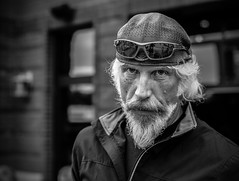 Street Portrait Project..... (Kevin Povenz Thanks for all the views and comments) Tags: 2018 june kevinpovenz holland westmichigan michigan portrait blackandwhite bw street streetphotography streetportrait male man beard hat canon7dmarkii canon50mm 50mm whitehair hair look sunglasses