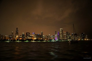 Night View of Downtown Chicago at Night