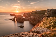 Enys Dodnan Arch at Land's End (Nathan J Hammonds) Tags: lands end enys dodnan arch cornwall england uk sea coast sunset sun sky water rocks cliffs flowers long exposure nd filter nikon d750 10stop hdr foreground seascape landscape nathanhammonds