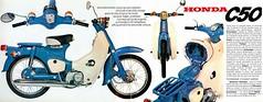 Honda C50 brochure,  France early 1970s. (Lawrence Peregrine-Trousers) Tags: honda c50 super cub ad advertising brochure ffffffffff france french spec specification blue bleu