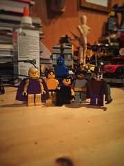 Vintagemen (Lord Allo) Tags: lego dc watchmen vintage smiley face yellow ozymandias silk spectre the comedian doctor manhattan niteowl rorschach
