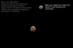 Mars 1 Before and After (OPMmmGroup) Tags: sun moon galaxy galaxies telescope reflector refractor newtonian dobsonian eq mount goto celestron vx solar system nebula star stars cluster globular astronomy astroimaging astrophotography planets planet deep space mars jupiter saturn mercury neptune pluto uranus canon 70d tiffendfx lunar