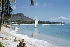Waikiki Beach Diamond Head 1953 (Kamaaina56) Tags: 1950s waikiki hawaii beach catamaran slide