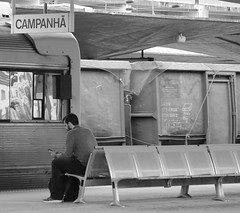 Campanha (Jess in KC) Tags: man waiting train station bench portugal campanha people sit sitting seated