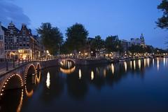 Amsterdam. (alamsterdam) Tags: leidsegracht canal keizersgracht evening longexposure reflections boats bridges cars bikes