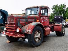 Greg Plunkett's Rusty 1957 Brockway Semi Tractor (J Wells S) Tags: 1957brockwaysemitractor rusty1957brockwaytruck gregplunkett semitractor bigrig 18wheeler antiquebrockwaytruck historicbrockwaytruck vintagebrockwaytruck rust rusty crusty junk aths americantruckhistoricsociety 2018athstruckshowandconvention kentuckyhorsepark lexington kentucky camiones lorry