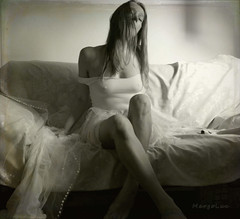Summer Blues ... (MargoLuc) Tags: morning mood dreamy me self portrait girl woman natural soft light window monochrome emotions bw feeling square artisawoman