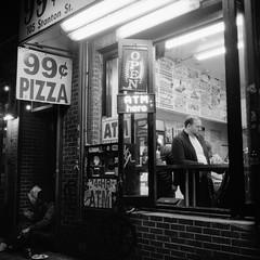 Late Night LES Vibes (colinpoe) Tags: delta3200 rolleiflex street handheld streetphotography stantonst atm streetlife rolleiflexautomat candid ilfordfilm nyc newyorkcity rolleiflexautomatk4a ilford latenight pizza lowereastside dollarslice les gothamist