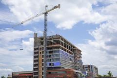 Construction Site (milepost430media.com) Tags: construction crane tower build work labor concrete workers growth asheville hospital new blue sky clouds dslr canon 5d markiv
