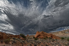 A building thunderstorm over the Waterpocket Fold country, central Utah (fasteddie77) Tags: utah