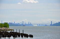 The City Seems So Far Away (Trish Mayo) Tags: hudsonriver georgewashingtonbridge newyorkcity alfredbdelbelloriverwalk riverwalk