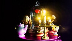 Friendship lights the dark places (custombase) Tags: disney beautyandthebeast mrspotts cogsworth plumette chip lumiere enchanted rose figures toys toyphotography