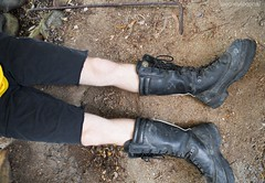 work boots and shorts (MudboyUK) Tags: workboots blackboots dirtyboots wearingboots tradieboots tallboots meninboots worker tradie miningboots minersboots