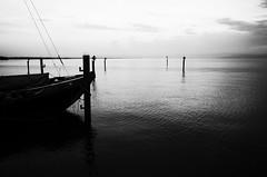 Nails on the pole (stefankamert) Tags: stefankamert water lake lakeconstance bodensee ship boat pole dark reflections noir noiretblanc blackandwhite blackwhite landscape horizon sky clouds ricoh gr grii