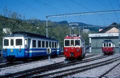 MOB 1002  Vevey  19.04.97 (w. + h. brutzer) Tags: vevey eisenbahn eisenbahnen train trains schweiz switzerland railway triebwagen triebzug triebzüge mob webru analog nikon