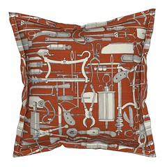fiendish incisions rust serama throw pillow (Scrummy Things) Tags: roostery spoonflower fiendish incisions fiendishincisions medical surgical surgery medicalinstruments victorian vintage suture thread needle syringe knife saw blade scary gory halloween black ivory illustration illustrative serama throwpillow cushion pillow rust orange