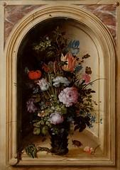 Fleurs (Ωméga *) Tags: naturemorte bouquet fleurs stilllife flowers tableau painting niche ω lézards papillons insectes libellule coléoptères vase scarabées mouches