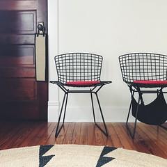 waiting room (mennyj) Tags: home homepad diy design hyggedome makinstuff irememberbooks bertoia chair chairs black mcm jute rug