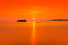 sunset 2001 (junjiaoyama) Tags: japan sunset sky light cloud weather landscape orange contrast color bright lake island water nature summer calm dusk serene reflection