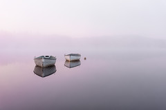 All alone (Pete Rowbottom, Wigan, UK) Tags: sunrise pink nature travel landscape fishingboats scotland loch lochrusky dawn still tranquil serene mist fog hills surreal beautiful trossachs uk britain peterowbottom nikond750 calm red minimal weather scotchmist explore explored inexplore 2018 three 3 50mm lessismore top20waterpix
