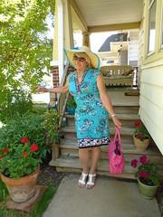 There, Now I'm Ready (Laurette Victoria) Tags: porch woman dress laurette purse pink sunglasses hat blonde
