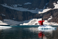 her world (OneLifeOnEarth) Tags: onelifeonearth iceberg lake montana ehir 1407 water mountain snow red self portrait reflection canon cold beautiful poetry glacier national park her world