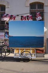 Vue sur la mer (Maarillon) Tags: sea horizon street painting blue city bicycle avignon abstract