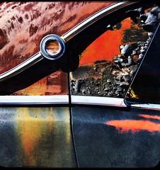 Effortless Art (Maureen Bond) Tags: ca maureenbond patina desert hot car automobile junkyard beautiful automotive curves lines paint crackle peel crusty chrome detail effortlessart mojave texture texturetheme