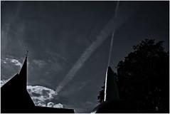 The Sky Over Iserlohn (RadarO´Reilly) Tags: iserlohn mk nrw germany himmel sky wolken clouds kirchturm churchsteeple sw schwarzweis bw blackwhite blanconegro noiretblanc zwartwit monochrome