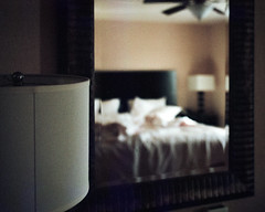 waking up in another room (pixelscape) Tags: hotel travel jetlag portra film 35mm leicam3 summicron grain
