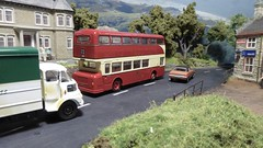 Huddersfield Fleetline Heads Out of Town. (ManOfYorkshire) Tags: huddwersfield daimler fleetline bus efe diecast oxforddiecast basetoys model scale diorama siruslodge route73 ford cortina austin atlantean 176 oogauge mcw