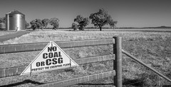 No Coal Seam Gas (OzzRod) Tags: pentax k1 hdpentaxdfa1530mmf28 rural farmland agriculture mining exploration coalseamgas csg protest monochrome blackandwhite gate silo